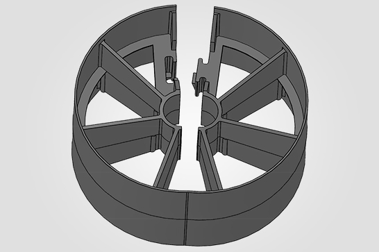 Ilustracao 3d  Espaçador Rolete Bipartido